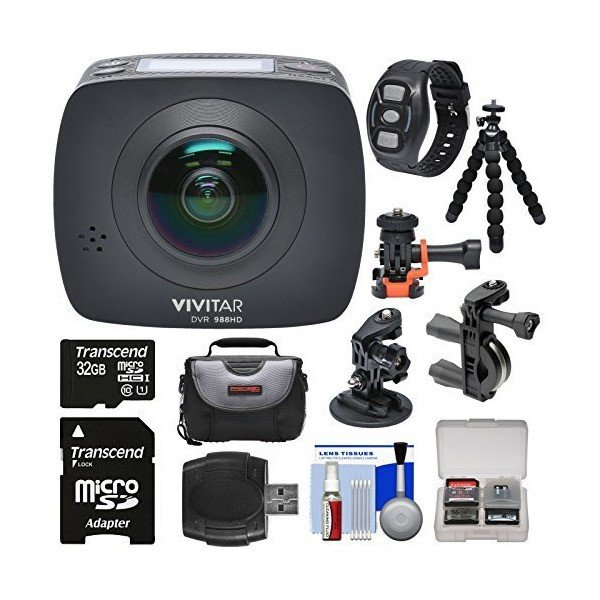 Vivitar DVR988HD 360 VR Wi-Fi Action Video Camera Camcorder (Black) with R