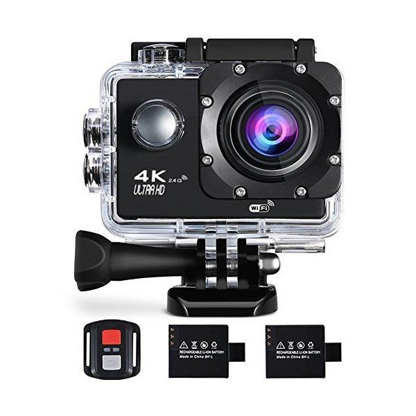 Action Camera 4K 16MP Sports Cam - BUIEJDOG HD WiFi Waterproof Action Camc