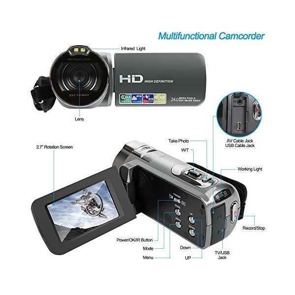 Camera Camcorder, Besteker HD 1080P 24MP 16X Digital Zoom Video Camcorders