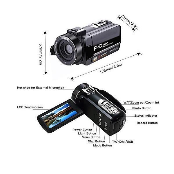 Camcorder Digital Video Camera Full HD 1080P 30FPS Vlogging Camera Pause F