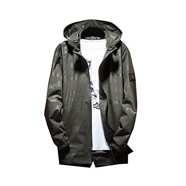 YFFUSHIメンズウインドブレーカージャケットゆったりL-7XL迷彩黒緑フード付き個性ブルゾンアウターカジュアル