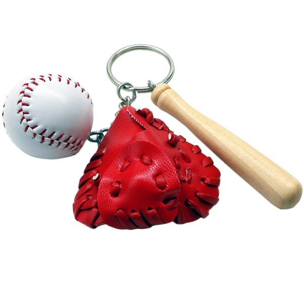 (部活グッズ)17660/CORE/スポーツ「球技」キーホルダー(バット+グローブ「レッド」+野球ボール)/マスコット/チャーム/玩具/ギフト/プレゼント