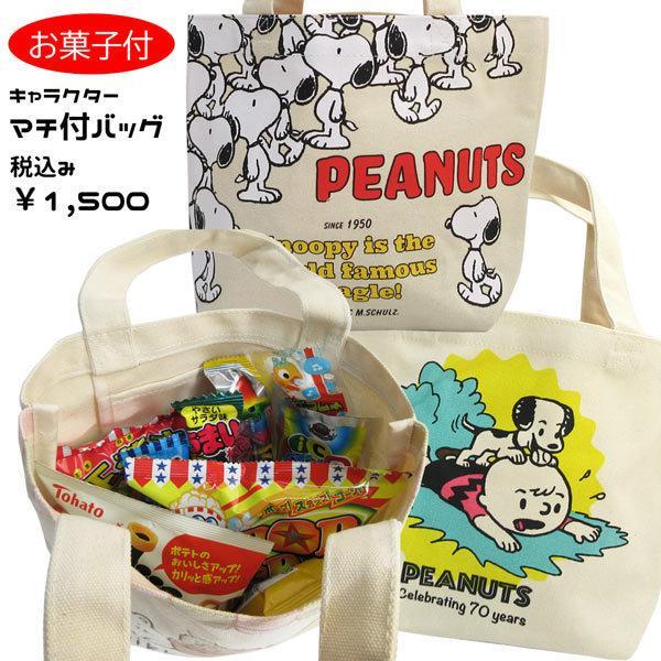スヌーピー OKS-SNAP2958K-3117 キャラクターマチ付バッグ+お菓子詰め合わせセット 駄菓子 スナック  税込1,500円