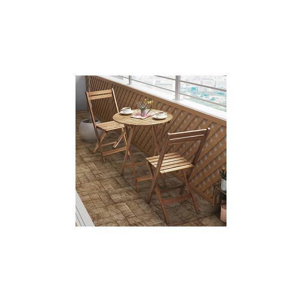 ガーデンファニチャーセット 3点 / 折りたたみ ベランダ ガーデンテーブルセット 木製 m2