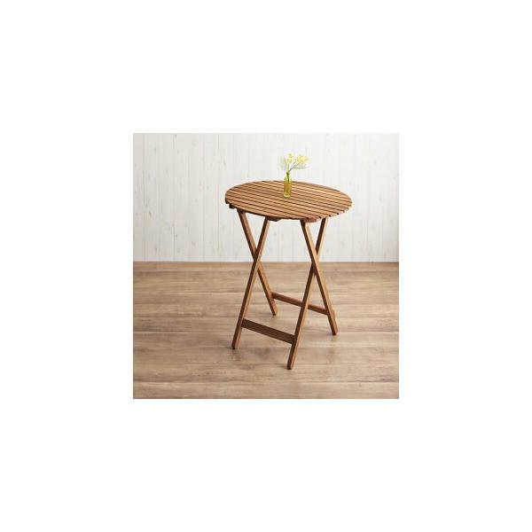 ガーデンテーブル ラウンドタイプ W60 / 木製 折りたたみテーブル 円形テーブル 丸型 muk 1