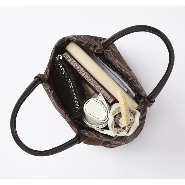 日本製ジャガード アオリ式手提バッグ ブラックLS−7500日本製ジャガード
