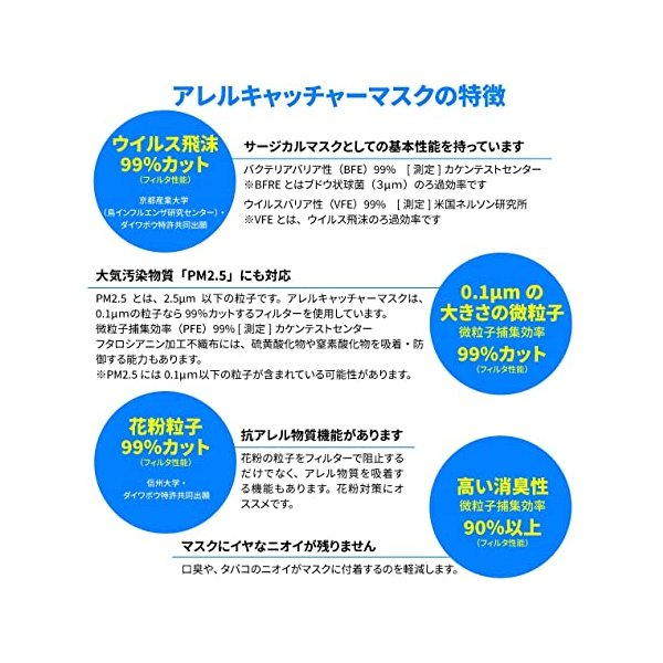 日本製 マスク アレルキャッチャーマスク Lサイズ 30枚入 4層構造 個別包装 高い消臭力 花粉 ウイルス 飛沫 99% 除去 PM2.5 不織布|noel-honpo|04