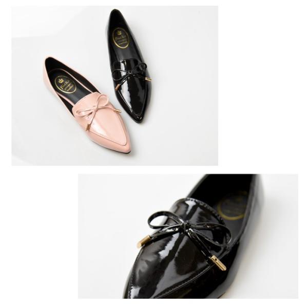 レディース 靴 パンプス アーモンドトゥ ローファー フラット 黒 ブラック ベージュ ホワイト エナメル リボン NOFALL sango