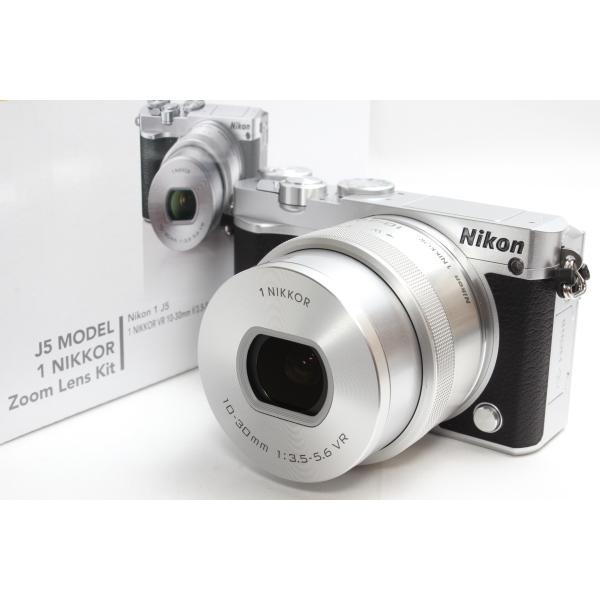 ミラーレス一眼 Nikon ニコン 1 J5 標準パワーズームレンズキット シルバー Wi-Fi 自撮り