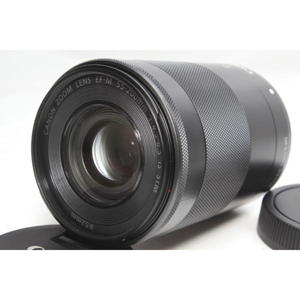 望遠レンズ Canon キヤノン EF-M 55-200mm F4.5-6.3 IS STM レンズ ブラック 手ブレ補正 交換レンズ ミラーレス一眼