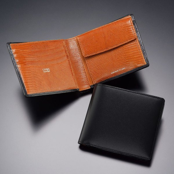 メンズ 財布 二つ折り 小銭入れあり キプリスコレクション ボックスカーフ&リザード|noijapan