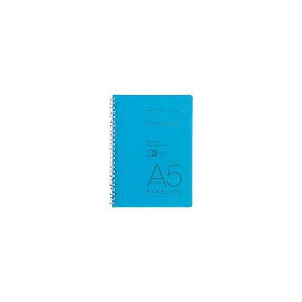 ノート A5 キョクトウ・アソシエイツ Wリングノート A5判 7ミリ罫 パペルール ライトブルー 5セット PT106LB