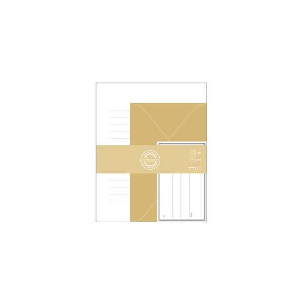 レターセット おしゃれ デザインフィル ミドリ レター&ギフト CB レターセット 茶 5冊セット No. 86300