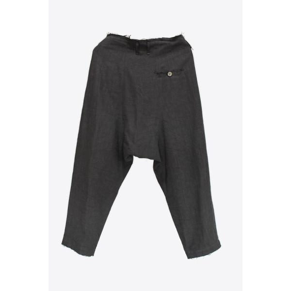 【Atelier Aura/アトリエアウラ】Deep crotch linen trouser ドロップクロッチクロップドパンツ46 黒 ブラック  アルチザン メンズ |nontitletokyo|02