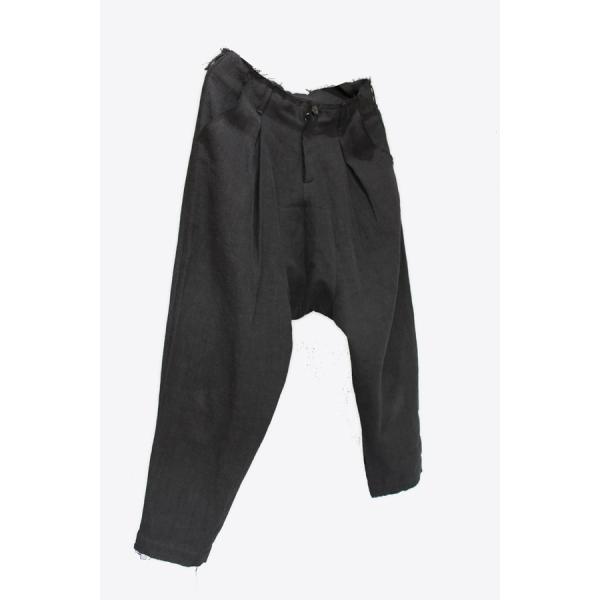 【Atelier Aura/アトリエアウラ】Deep crotch linen trouser ドロップクロッチクロップドパンツ46 黒 ブラック  アルチザン メンズ |nontitletokyo|03