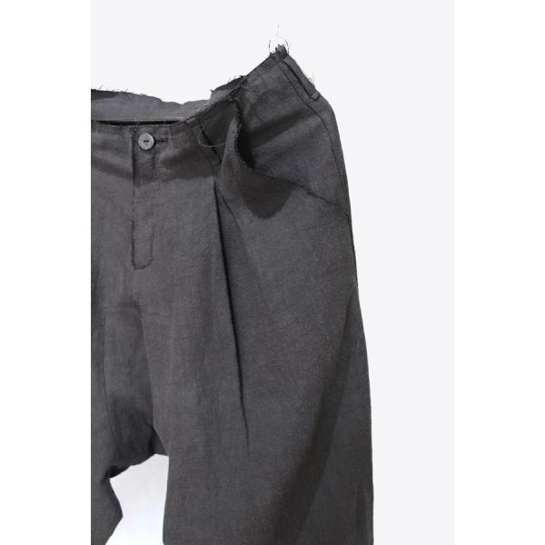 【Atelier Aura/アトリエアウラ】Deep crotch linen trouser ドロップクロッチクロップドパンツ46 黒 ブラック  アルチザン メンズ |nontitletokyo|05