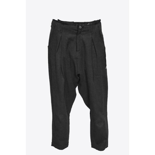【Atelier Aura/アトリエアウラ】Deep crotch linen trouser ドロップクロッチクロップドパンツ46 黒 ブラック  アルチザン メンズ |nontitletokyo|06