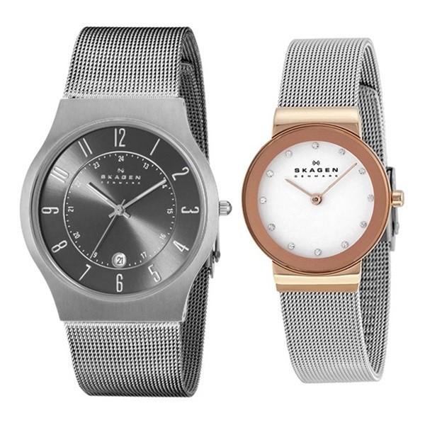 スカーゲン ペアウォッチ チタニウム メッシュブレス 233XLTTM358SRSC あすつく 腕時計 nopple