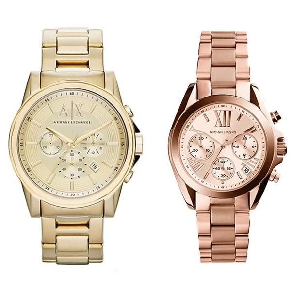 おすすめブランド ペアウォッチ アルマーニエクスチェンジ&マイケルコース 腕時計 ゴールド ピンクゴールド 黄金 ステンレス AX2099MK5799 あすつく 腕時計