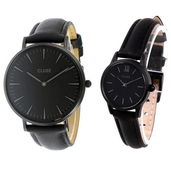 時計収納BOX付き クルース ペアウォッチ ラ・ボエーム/ラ・ヴェデット 38ミリ/24ミリ ブラック レザー CL18501CL50015 あすつく 腕時計