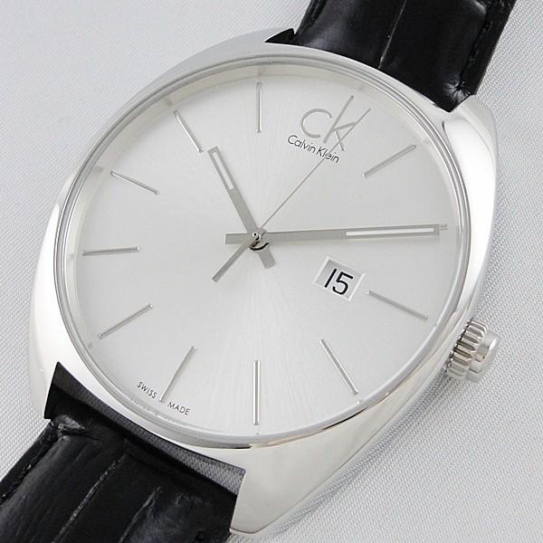 CK 時計 カルバンクライン スイス製 おしゃれなミニマル シンプル クロコ型押しブラックレザー 無料特典付き! あすつく 腕時計|nopple|02