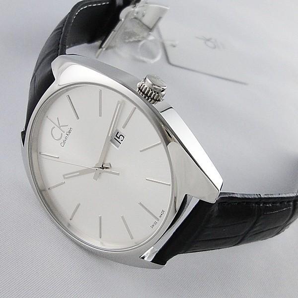 CK 時計 カルバンクライン スイス製 おしゃれなミニマル シンプル クロコ型押しブラックレザー 無料特典付き! あすつく 腕時計|nopple|03