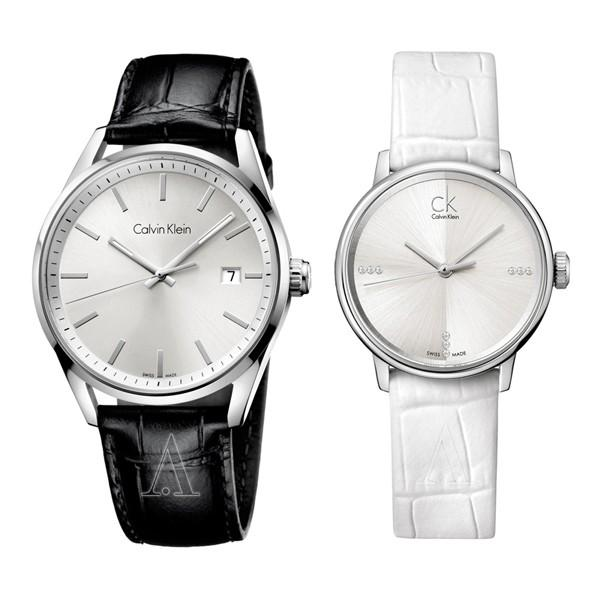 カルバンクライン ペアウォッチ フォーマリティ アクセント 44mm 32mm シルバー ブラック ホワイト レザー 革ベルト K4M211C6K2Y2Y1KW あすつく 腕時計