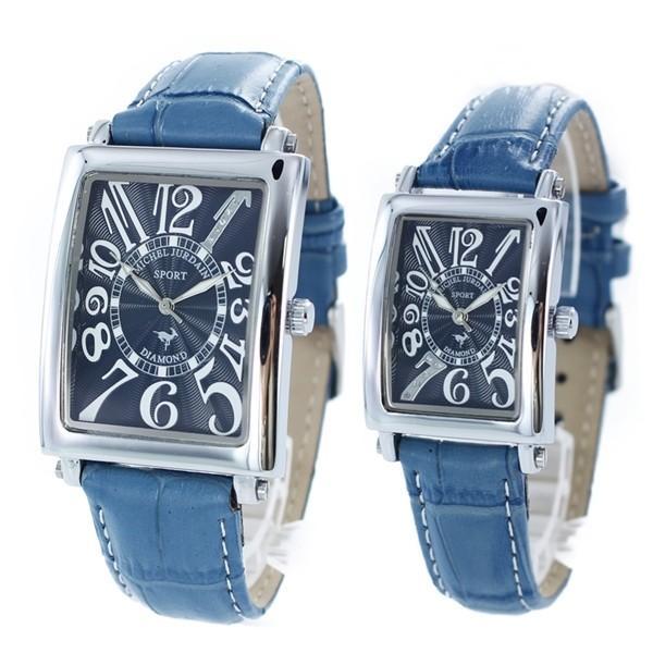 【無料特典付き!】ミッシェルジョルダン ペアウォッチ ブルー レザー ダイヤモンド 革 おしゃれ 上品 SG-3000-8SL-3000-8 あすつく 腕時計