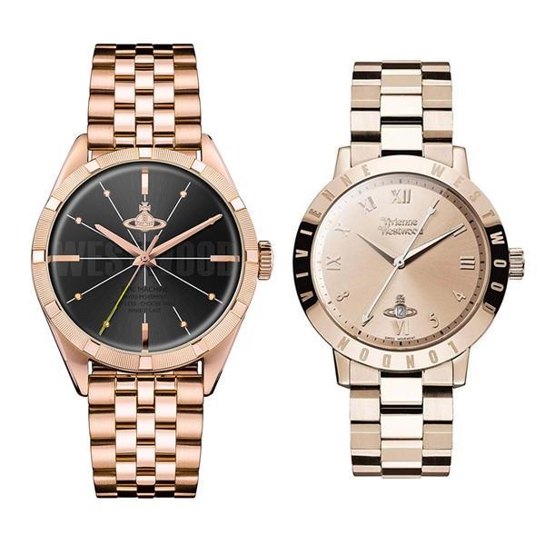 【ぺア収納箱付き】ヴィヴィアン ウエストウッド ペアウォッチ ローズゴールド ステンレス VV192BKRSVV152RSRS あすつく 腕時計