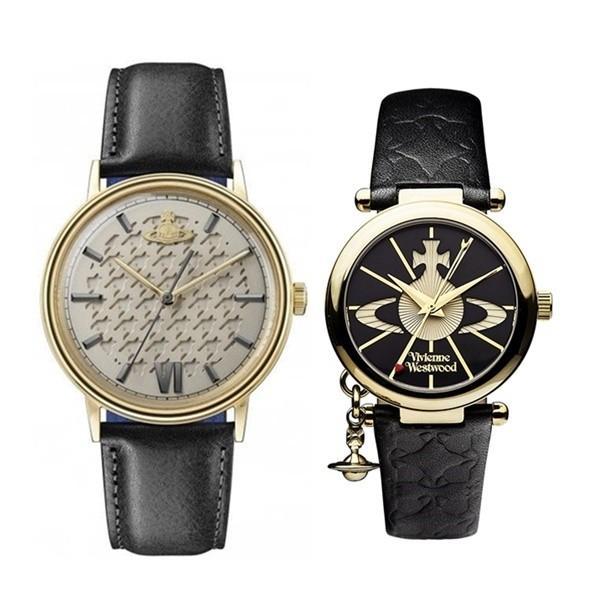 【ぺア収納箱付き】ヴィヴィアン ウエストウッド ペアウォッチ 時計 2本セット ブラックレザー 黒 革 VV212GDBKVV006BKGD あすつく 腕時計