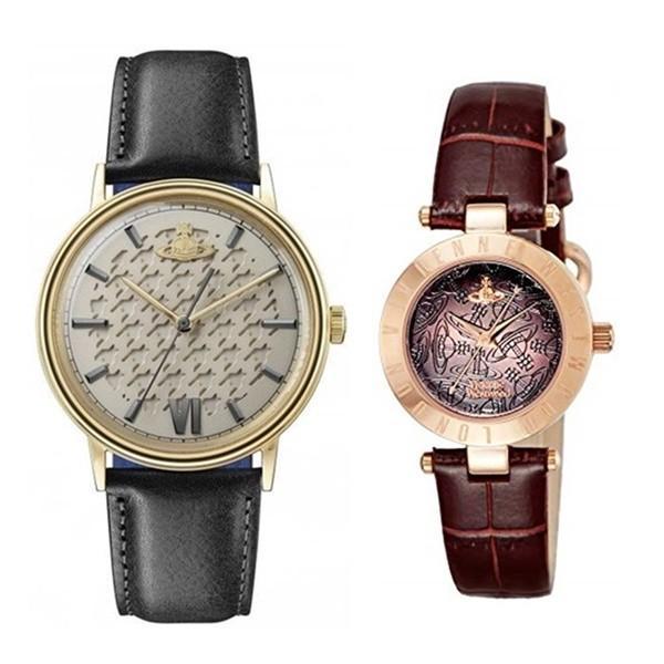 【ぺア収納箱付き】ヴィヴィアン ウエストウッド ペアウォッチ 時計 2本セット レザー 黒色 茶色 革 VV212GDBKVV092BRBR あすつく 腕時計