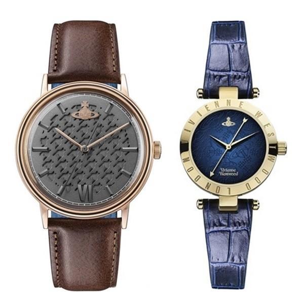 【ぺア収納箱付き】ヴィヴィアン ウエストウッド ペアウォッチ 時計 2本セット レザー ブラウン ネイビー 革 VV212RSBRVV092NVNV あすつく 腕時計