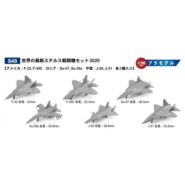 S49 1/700 世界の最新ステルス戦闘機セット2020【アメリカ:F-22、F-35C ロシア:Su-57、Su-35s 中国:J-20、J-31 各2機入り】