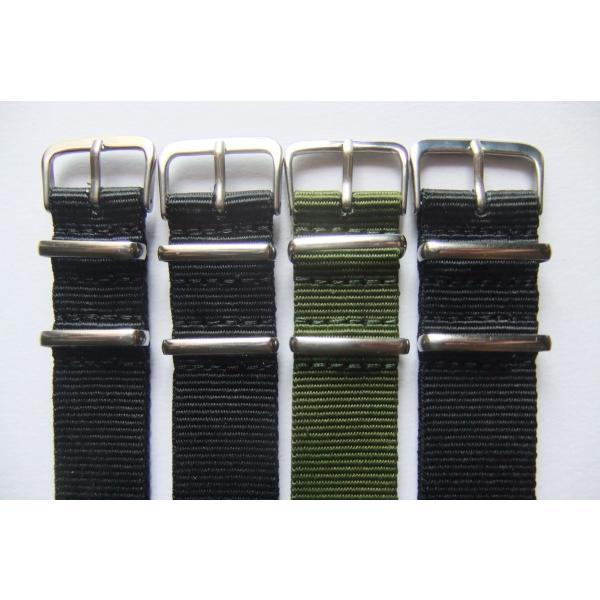 NATO TYPE 腕時計 ナイロン ベルト 18mm 20mm 22mm 2色 バンド 光沢尾錠