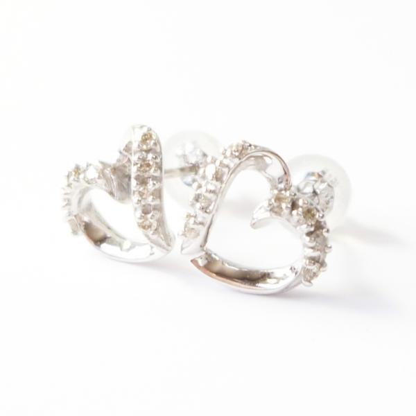 cf6ba27cef0154 ダイヤモンドピアス K18 18金 ホワイトゴールド ダイヤ0.10ct ハートピアス| ...