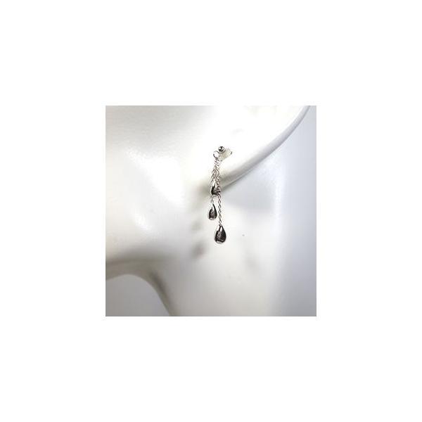 ピアス K18 (18金) ホワイトゴールド・トリプルドロップ 揺れるレディースピアス|novara|04