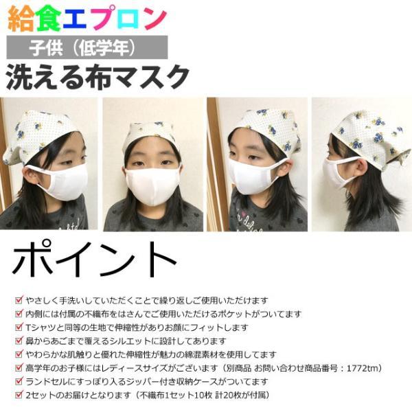 洗える 布マスク 2枚入り 給食マスク 給食エプロン ファッションマスク 洗って繰り返し使える 不織布付き 子供 マスク|novice-sf|02