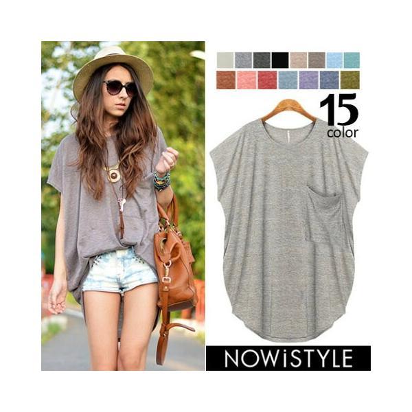 韓国 ファッション Tシャツ レディース おしゃれ 半袖 ビッグポケットTシャツ|nowistyle-y