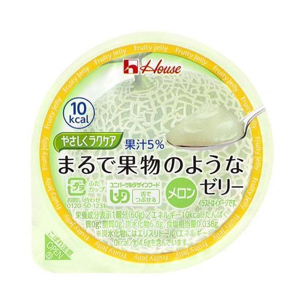 送料無料 ハウス食品 やさしくラクケア まるで果物のようなゼリー メロン 60g×48(12×4)個入