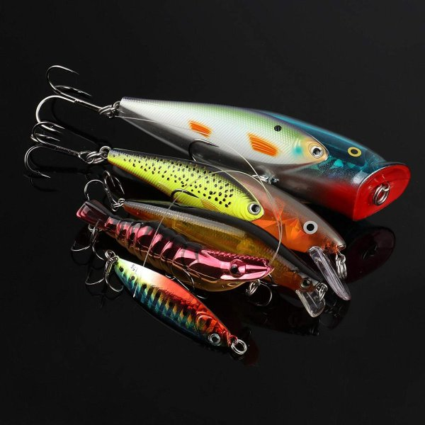 Runcl釣りルアー ハードルアー 釣具 ミノー ベイトステンレス フック 定番カラー 海水淡水対応 ((カラー03(5セット))