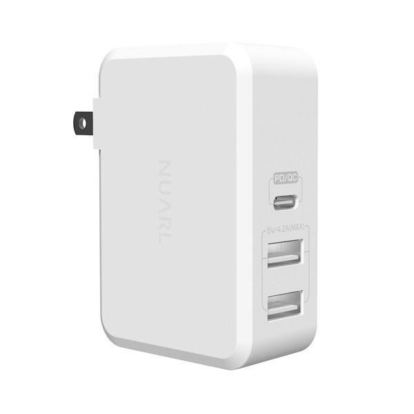 【公式ストア】NUARL 41W USB-C Power Delivery MacBook/MateBook急速充電/USB-A iPad/IQOS対応2.1A/海外電源対応アダプター ※延長保証+6ヶ月付|nuarl
