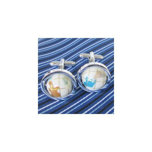 地球儀 世界地図 (白色)クルクル回転 メンズシャツ カフス/ カフスボタン 送料無料