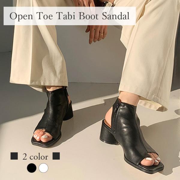 サンダルブーツサンダルレディースタビ足袋オープントゥヒール黒ブラック白ホワイト韓国ファッション
