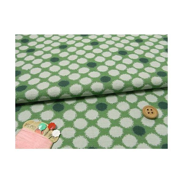 和柄コットン生地・かすり水玉(緑)|nunogatari|02
