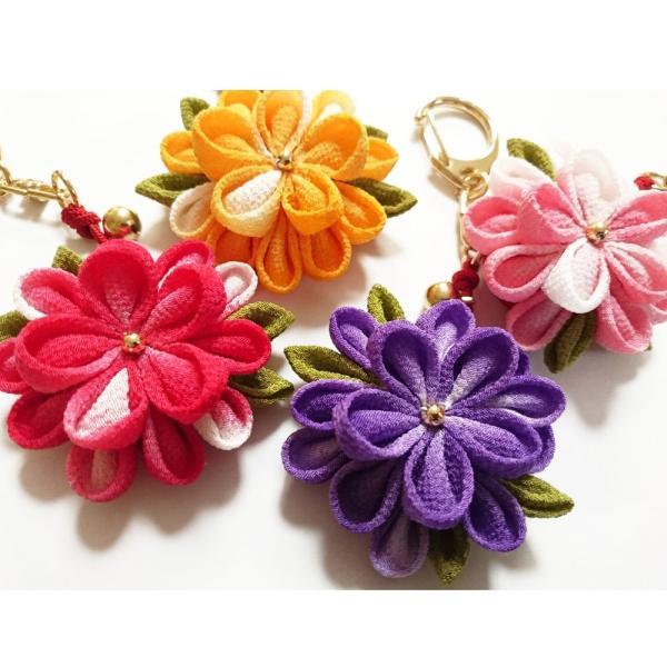 一越ちりめんで作る つまみ細工キット・お花のキーホルダー4色セット/限定販売|nunogatari|02