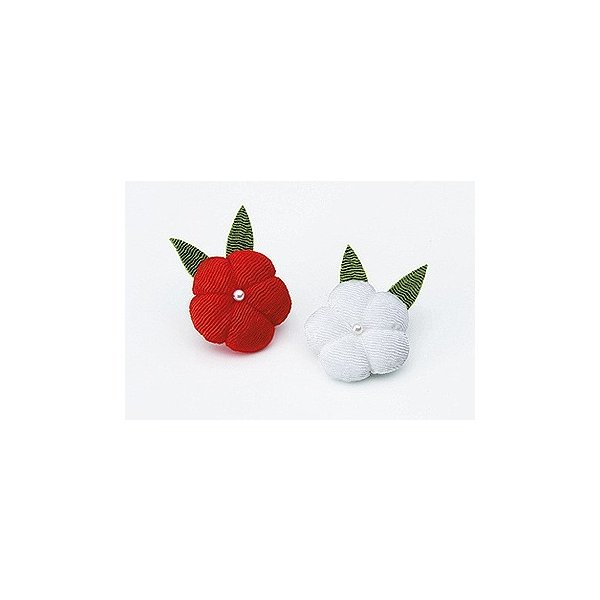 ちりめんつるし飾りパーツ(完成品)・ぽっちゃり梅 赤白2ヶセット|nunogatari