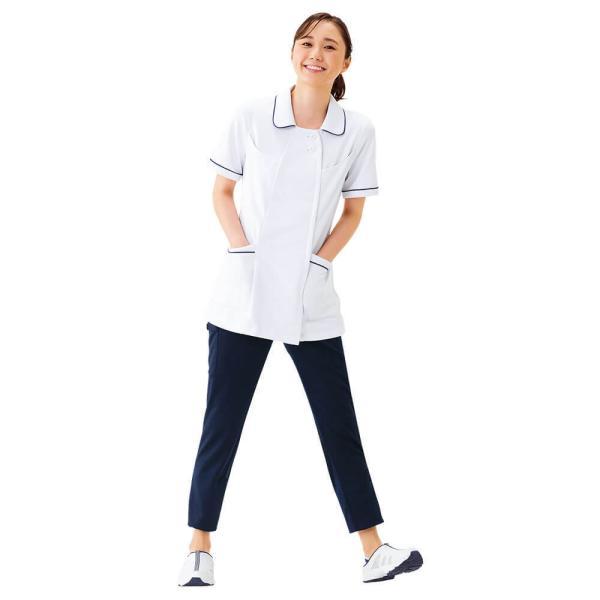 白衣 女性 ナースウェア オープンカラーパイピングジャケット(S/M/L/LL/3L/4L/5L)|nursery-y|02
