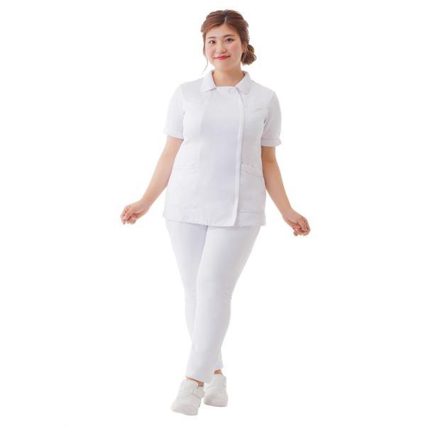 白衣 女性 ナースウェア オープンカラーパイピングジャケット(S/M/L/LL/3L/4L/5L)|nursery-y|03