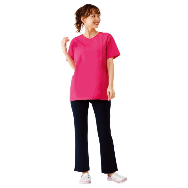 白衣 女性 医療用 半袖 ドクター 医師 看護師 病院 ナースリー着脱かんたんスクラブ|nursery-y|07