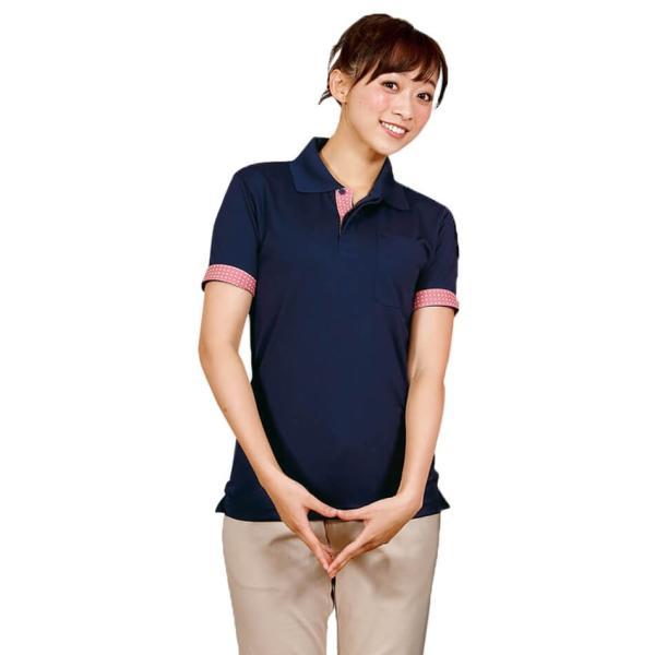 介護士 女性 レディースデザインポロシャツ 病院 クリニック ヘルパー ケアウェア|nursery-y|02